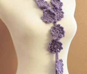 Crochet Flower Scarf Purple Lariat Spring Fashion