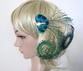 Peacock Feather fascinator hair clip