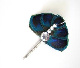 Peacock eye feather Fascinator hair pin