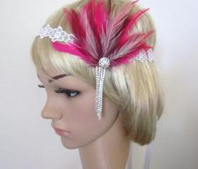 Bright pink, burgundy and ivory feather rhinestone 1920s flapper headband