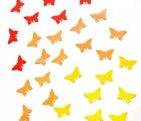 100 handpunched butterflies in the shades of yellow, orange and red