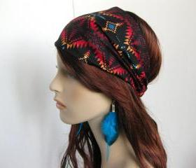 Navajo Bandana Women's Head Wrap Multi Color and Black Aztec Cotton Print Fabric Headband