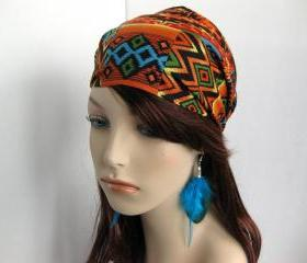 Navajo Bandana Women's Hair Head Wrap Multi Color Black Orange Teal Geen Aztec Cotton Print Fabric Headband