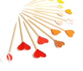 15 Red, Orange, Yellow Party Picks Hearts Cupcake Toppers - Autumn Fall Halloween Colors