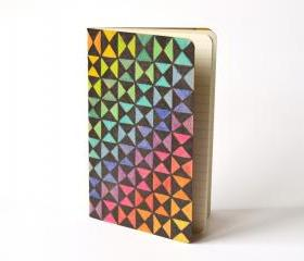 Rainbow Pocket Moleskine Ruled Mini Journal, hand drawn and painted optical abstract contemporary art