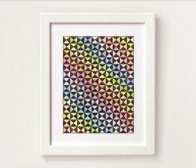 Rainbow I - optical abstract contemporary art. Watercolor and triangles.