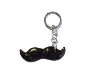 Black mustache keyring in polymer clay - man accessory