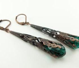 Copper Earrings Emerald Green Jewelry Long Dangle Earrings Victorian Steampunk Jewelry Filigree