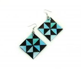 Laminated Earrings - optical abstract contemporary art. Black and teal triangles.