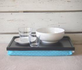 Laptop Lap Desk or Breakfast serving Tray - Black with Aqua and White polka Dots - Custom Order