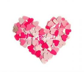 100 little hearts punches in pink shades