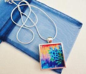 SHADES of BEAUTIFUL Resin Necklace, OOAK Abstract Acrylic Painting Design High Quality Handmade Art Jewelry Pendant Silver Plated Xmas Gift