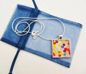 DOTTIE Resin Necklace, OOAK Abstract Acrylic Painting Design Polka Dot Handmade Art Jewelry Pendant Silver Plated Xmas Gift For Her