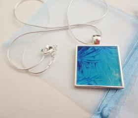 WATER FLOWERS Made-to-Order Resin Necklace, OOAK Abstract Acrylic Painting Design, Handmade Art Jewelry Pendant Silver Plated Xmas Gift