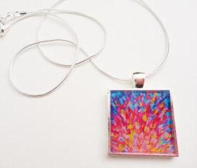 SPLASH, Revisited Resin Necklace, OOAK Abstract Acrylic Painting High Quality Handmade Art Jewelry Pendant Silver Plated Christmas Gift