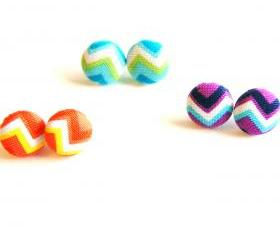 Chevron Fabric Button Stud Earrings