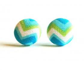 Chevron Button Covered Stud Earrings - Blue