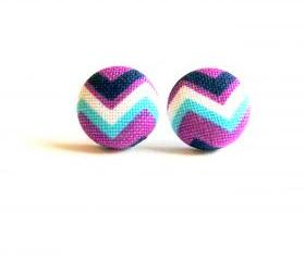 Chevron Button Covered Stud Earrings - Purple
