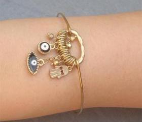 Evil Eye Hamsa Hand Bangle Bracelet