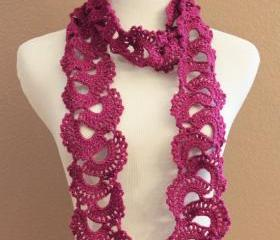 Magenta Womens Lace Scarf Crochet Queen Annes Lace Sparkle Fuscia