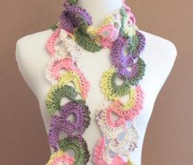 Lace Crochet Scarf Queen Annes Lace Ombre Varigated Multicolor Pastel Colors