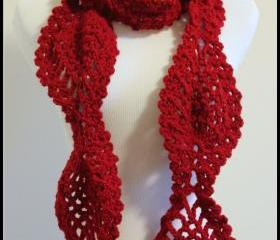 Crochet Scarf Scarlette Red Chunky Pineapple Lace Motif