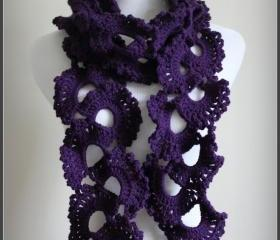 Crochet Scarf Purple Plum Queen Annes Lace