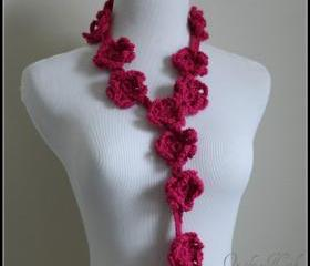 Hot Pink Crochet Scarf Flower Lariat Spring Fashion