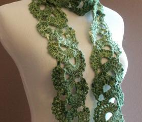 Womens Crochet Scarf Queen Annes Lace Ombre Varigated Multicolor Green