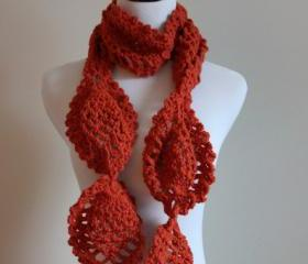 Pumpkin Orange Chunky Crochet Lace Scarf Pineapple Motif
