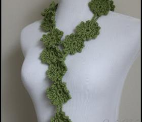 Crochet Flower Scarf Lariat Spring Fashion Sage Green