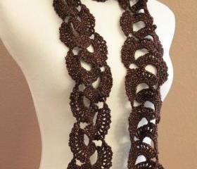 Crochet Scarf Queen Annes Lace Bronze Copper