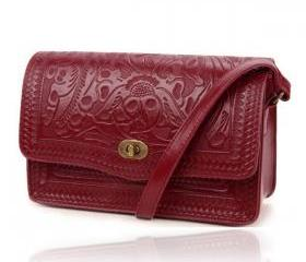 Wine Red Vintage Postman Bag