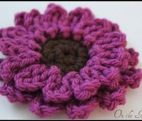 Crochet Flower Brooch Pin Magenta and Brown