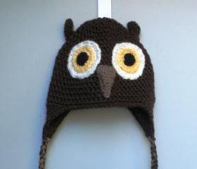 Unisex crochet Owl beanie with earflaps for infants-toddlers, ready to ship.