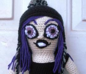 Crochet Art Doll 'Clover', OOAK plush crochet art doll, ready to ship.