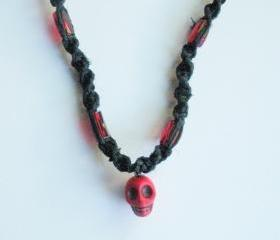 Black Hemp Necklace with Red Skull Charm Pendant, ready to ship.