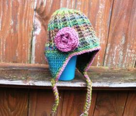 Toddler Girls crochet earflap beanie hat with rose applique, ready to ship