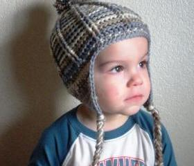 Unisex crochet infant or toddler hat - beanie with earflaps and pom pom poof, ready to ship.