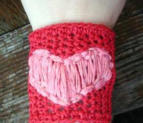 Crochet Hemp Wide Valentine Cuff Bracelet , red with pink heart, ready to ship.