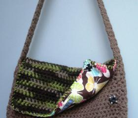 Camouflage and khaki crochet small shoulder purse with flap and butterfly lining, ready to ship.