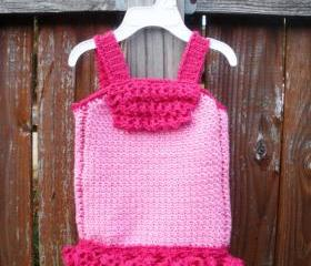Newborn Girls Crochet Tank Top Dress, ready to ship.
