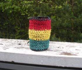 Crochet extra wide hemp bracelet in traditional Rasta colors