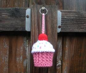 Plush Crochet Cupcake Keychain Stuffie, ready to ship.