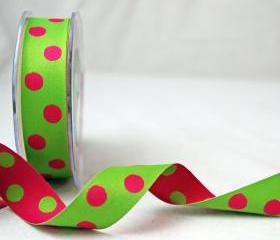 2 mtrs X Pink and Green Reversible Dots Satin Ribbon