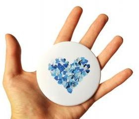 Blue heart pocket mirror