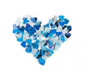 100 little hearts punches in blue shades