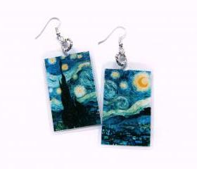 Van Gogh's Starry Night - laminated paper earrings for art lovers