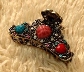 Colorful Stones and Rhinestone Filigree Claw Clip