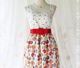 Floral Party ll - Adorable Sundress Party Day Dress White Top With Apple Heart Printed White Skirt Playful Cutie Candy Donuts Print XS-S
